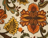 vintage cotton fabric floral brown