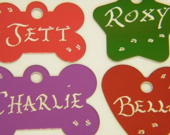 Buy 2 get 3rd FREE - Hand engraved -Pet Dog or Cat ID Tags - 10 Great Shapes 7 Great Colors Available -