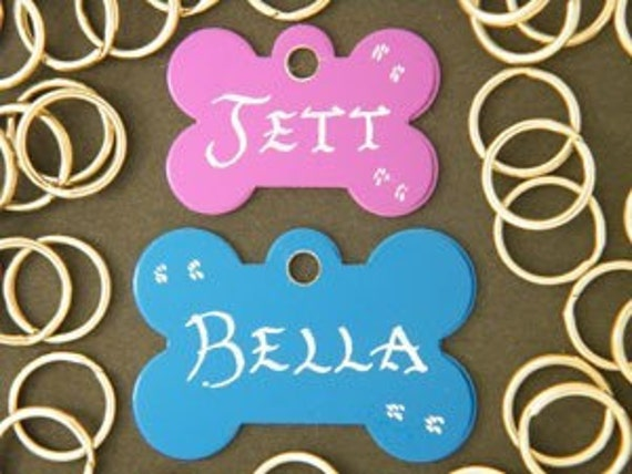 Dog-Bone Bow-Tie ......Pet Dog / Cat ID Name Tags ..... Hand engraved Creations .... Buy 2 get 3rd Tag Free....