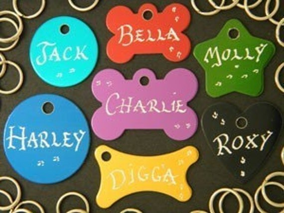 Hand Engraved - Pet Dog or Cat ID Tags - 7 Great Shapes 7 Great Colors Available - Buy 2 Tags get 3rd Tag FREE