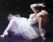 Vintage 80s White Lace Madonna Bustier Corset Bra Lingerie Top
