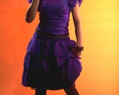 RESERVED FOR JODIE Vintage 80s Purple Metallic Prom Dress with Bow Ruffles