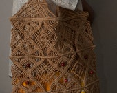 Vintage 60s Rope Macrame Crochet Tote Bag Hippie Boho Purse with Wood Beads