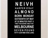 Birth notice typography bus roll wall art print