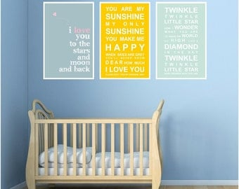 3 bus roll wall art print set - for the nursery