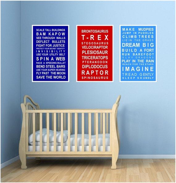 3 Wall art print set - for Boys