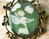 Antique bronze brooch - Illustration 'TinkerBell'