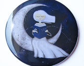 Illustrated pocket mirror 2 1/4 in - In the Moonlight - FREE SHIPPING