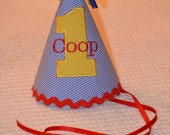 Custom-made Personalized Monogrammed Keepsake Party Hat, First Birthday M2M Your Colors