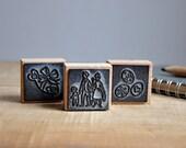 vintage rubber stamps - fêtons le printemps