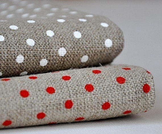 Linen with Small Dots - White (Large Piece)