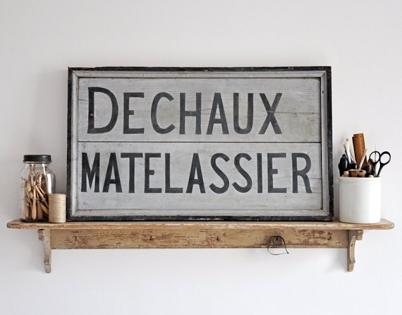 vintage french wood sign