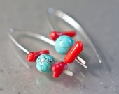 Sterling Silver Earrings Red Coral Turquoise Aqua Hooks Modern Minimalist Geometric Jewelry tbteam