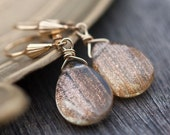 Sunstone Dangle Earrings 14K gold - Sunset - rustic woodland