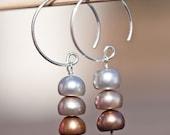 Hoop Dangle Earrings Sterling Silver Pearls multicolor 3 Chocolate rusteam