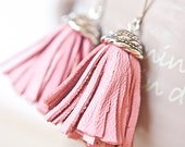Tassel Leather Earrings Baby Pink Fringe Silver boho bohemian long sexy dangly glam rose - daimblond