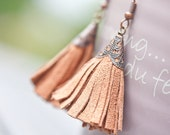 Tassel Suede Earrings Brown Camel Terracota Fringe Copper Country western Cowgirl boho bohemian long sexy dangly glam