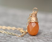 Orange Red Pumpkin Aventurine Teardrop Pendant Necklace 14K Gold briolette Natural Organic Simple Modern Minimalist Design