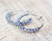 Hoop Earrings Dark Blue Iolite Sterling Silver wire wrapped modern jewelry