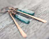 Long Boho Earrings Blue Kyanite Copper Rustic Tribal Woodland fashion rusteam