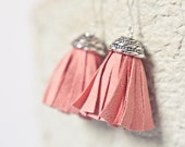 Tassel Leather Earrings Coral Pink Peach Petal Fringe Silver boho bohemian cherry blossom dangly glam rose tbteam