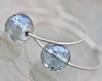 Simple Hoops Earrings Argentium Sterling Silver Sapphire Blue Quartz Geometic Jewelry