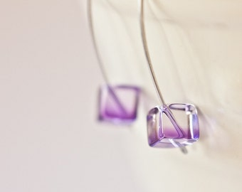 Modern Hook Earrings Ametrine Cube Argentium Sterling silver Geometric Jewelry minimalist design