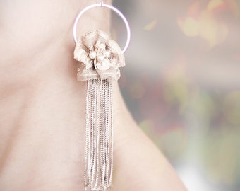 Long Bridal Earrings Vintage French Lace Tassel Fringe Champagne Nude beige tan Cottage Chic pastel romantic wedding