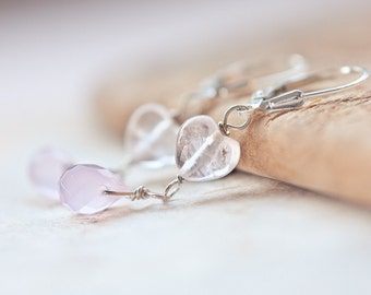 Earrings Heart Shape Pink Quartz Chalcedony Teardrop Sterlings Silver romantic pastel