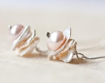 Earrings Keishi Petal Ivory White Pearls Mauve Keshi Pearls Argentium Sterling Silver bridesmaid jewelry weddings