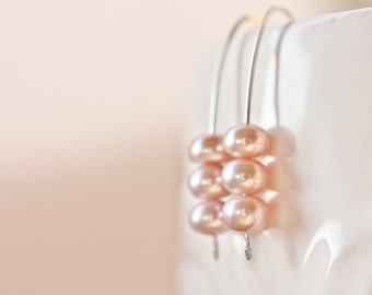 Modern Earrings Argentuim Sterling silver Peach Pink Pearls Tea Rose Pastel Cherry Blossom