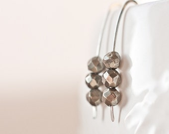 Modern Earrings Argentuim Sterling silver Golden Pyrite Gray Black Minimalist design