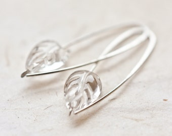 Modern Earrings Argentuim Sterling silver Crystal Quartz Carved Leaf Bridesmaid Wedding Fashion Simple Minimalist