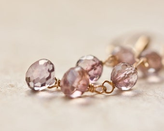 Long Dangle Earrings Mystic Pink Quartz 14k Gold Luxury Bridal Wedding Fashion pastel