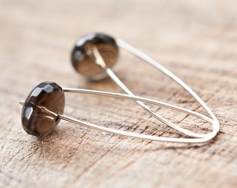 Modern Simple Earrings14K Gold Organic Brown Chocolate Smokey Quartz Terracota Minimalist design