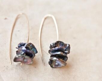 Modern Simple Earrings Keshi Pearl Hook Earrings 14K Goldfilled Organic Keishi Petal Pearls Black Peacock Minimalist design