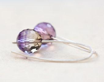Earrings Purple Ametrine Quartz Argentium Sterling silver Disco Ball Modern Design Minimalist Geometric Jewelry