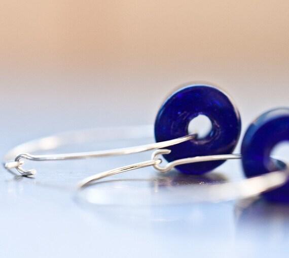 Hoop Earrings Blue Navy Ultramarine Glass Argentium Sterling silver geometric jewelry