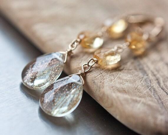 Luxury Long Dangle Earrings Sunstone Citrine 14k Gold Champagne Cream tbteam rusteam
