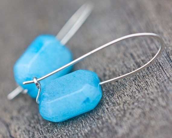Modern Earrings Aqua Blue Amazonite Argentium Sterling Silver Minimalist jewelry tbteam