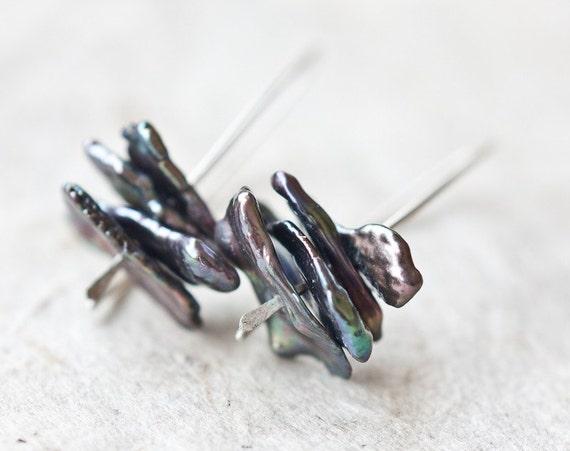 Black Keishi Pearls Earrings Sterling Silver Modern Hook Minimalist simple jewelry keshi organic