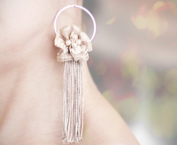 Long Bridal Earrings Vintage French Lace Tassel Fringe Champagne Beige Shabby Chic pastel romantic tan tbteam