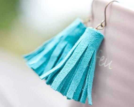 Tassel Leather Earrings Turquoise Blue Fringe boho bohemian sexy dangly glam Aqua Sky