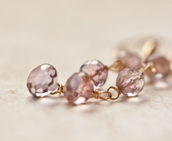 Long Dangle Earrings Mystic Pink Quartz 14k Gold Luxury Bridal Wedding Fashion pastel