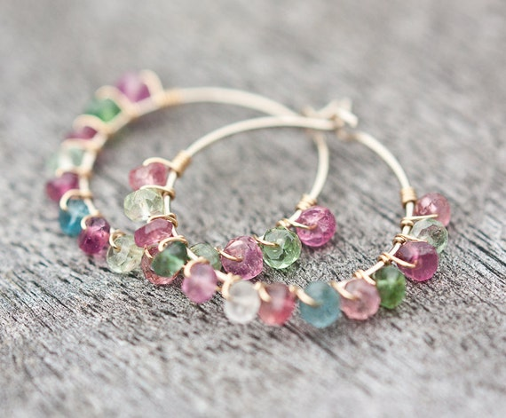 Hoop Earrings Colorful Tourmaline Luxury 14K Gold wire wrapped pastel multicolor organic design