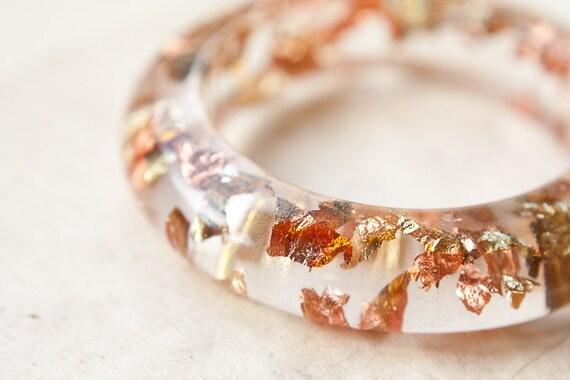 Resin Bangle Bracelet Gold Flakes OOAK tbteam