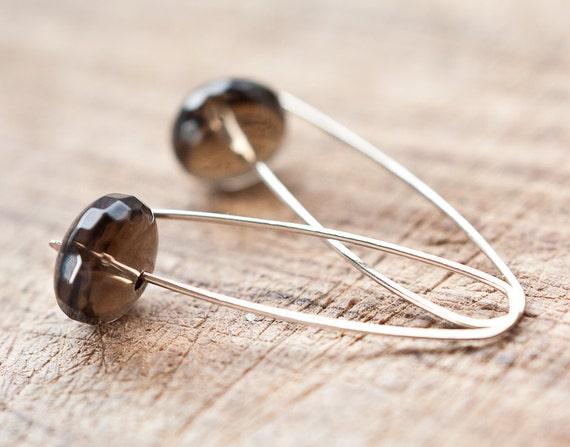 Modern Simple Earrings14K Gold Organic Brown Chocolate Smokey Quartz Terracota Minimalist design