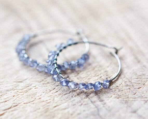 Hoop Earrings Dark Blue Iolite Sterling Silver wire wrapped modern jewelry