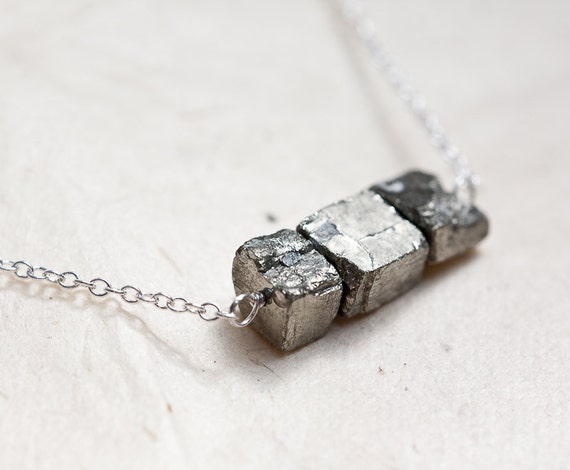 Necklace Pyrite Cube Sterling Silver Modern Organic by ...