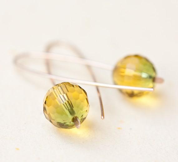 Earrings Yellow Green Ametrine Quartz Argentium Sterling silver Disco Ball Modern Design Minimalist Geometric Jewelry